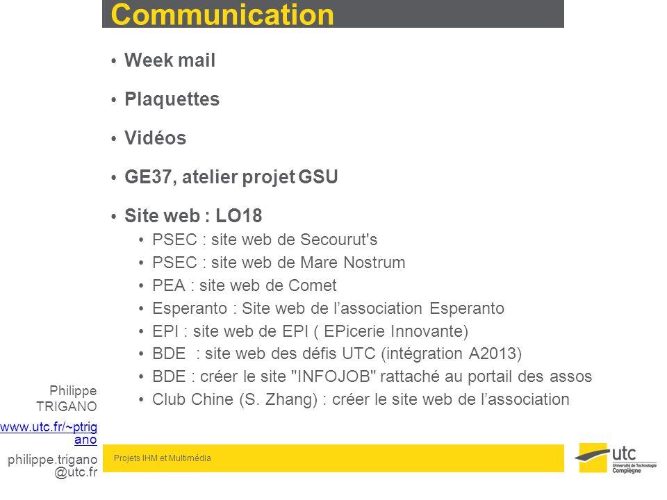 Communication Week mail Plaquettes Vidéos GE37, atelier projet GSU