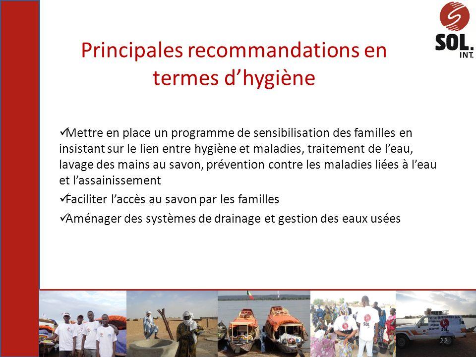 Principales recommandations en termes d'hygiène