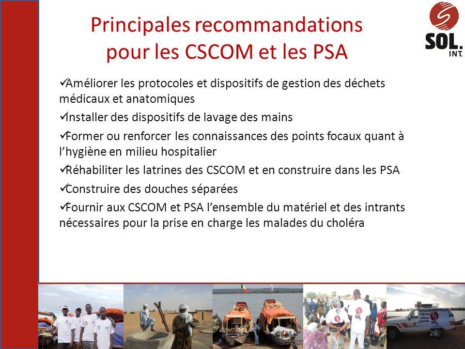 Principales recommandations pour les CSCOM et les PSA