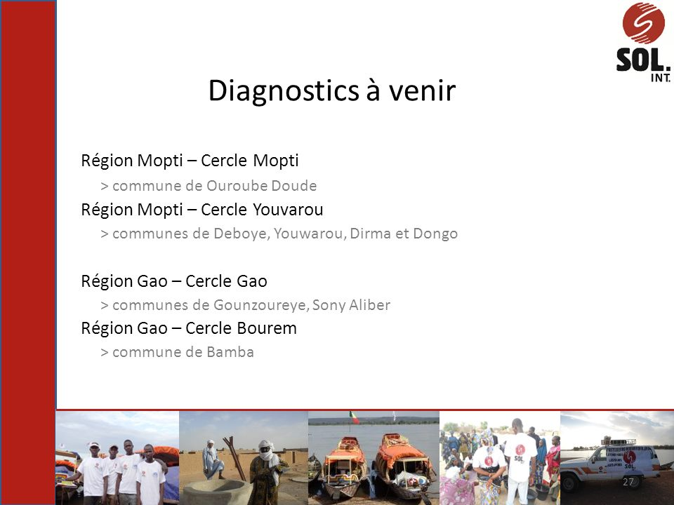 Diagnostics à venir Région Mopti – Cercle Mopti