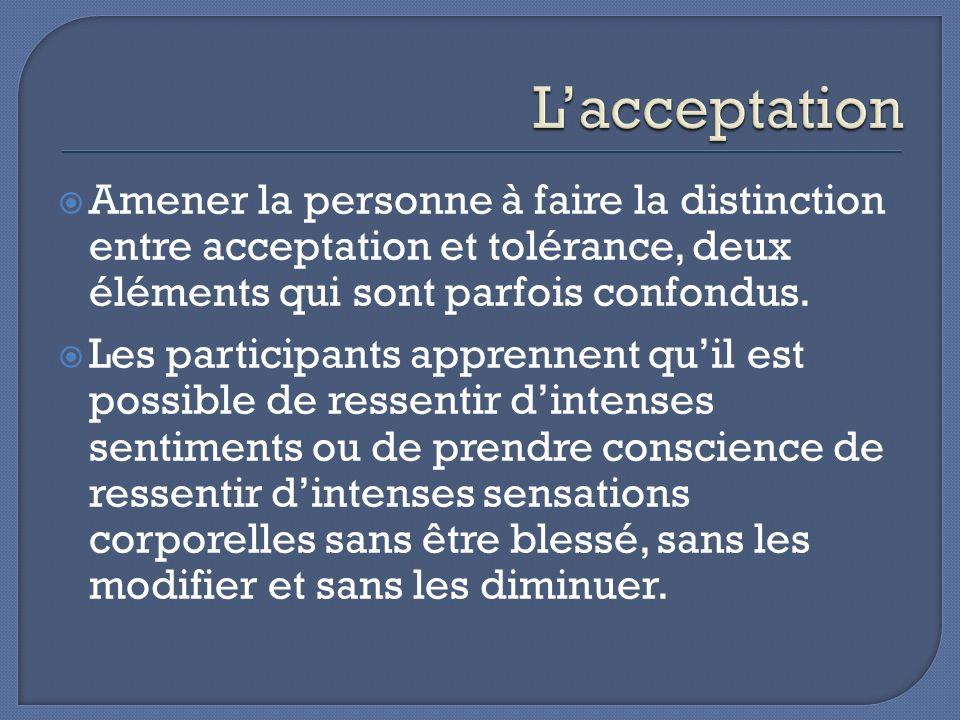 L'acceptation Amener la personne à faire la distinction entre acceptation et tolérance, deux éléments qui sont parfois confondus.