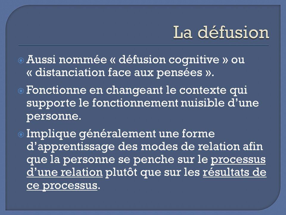 La défusion Aussi nommée « défusion cognitive » ou « distanciation face aux pensées ».