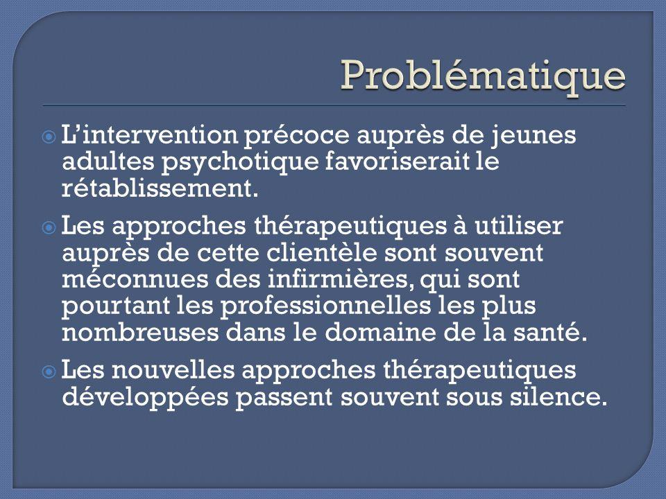 Problématique L'intervention précoce auprès de jeunes adultes psychotique favoriserait le rétablissement.