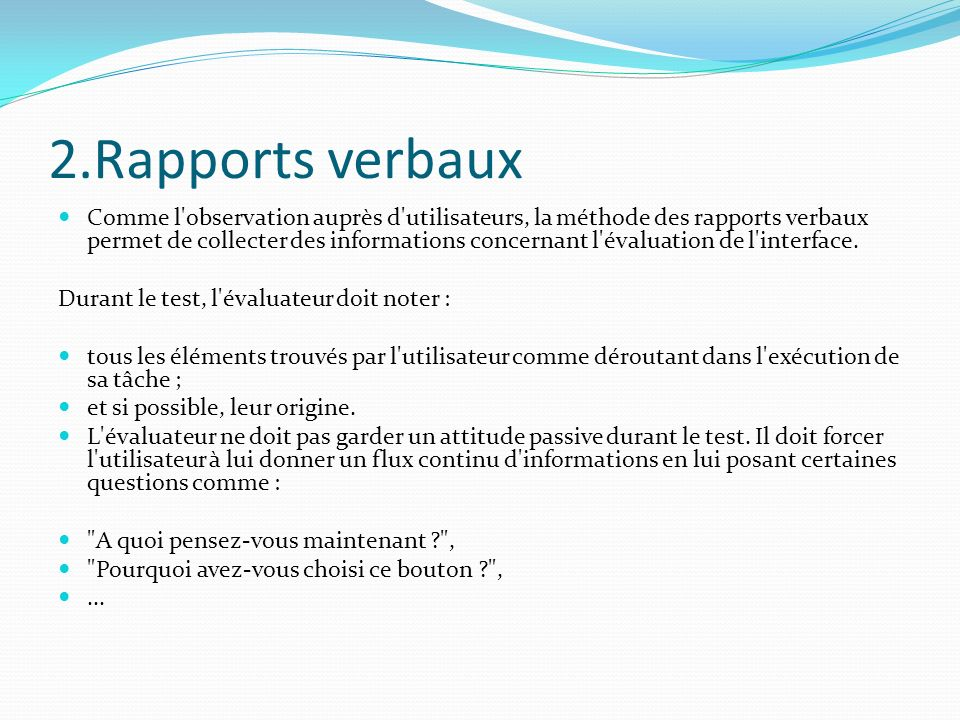 2.Rapports verbaux