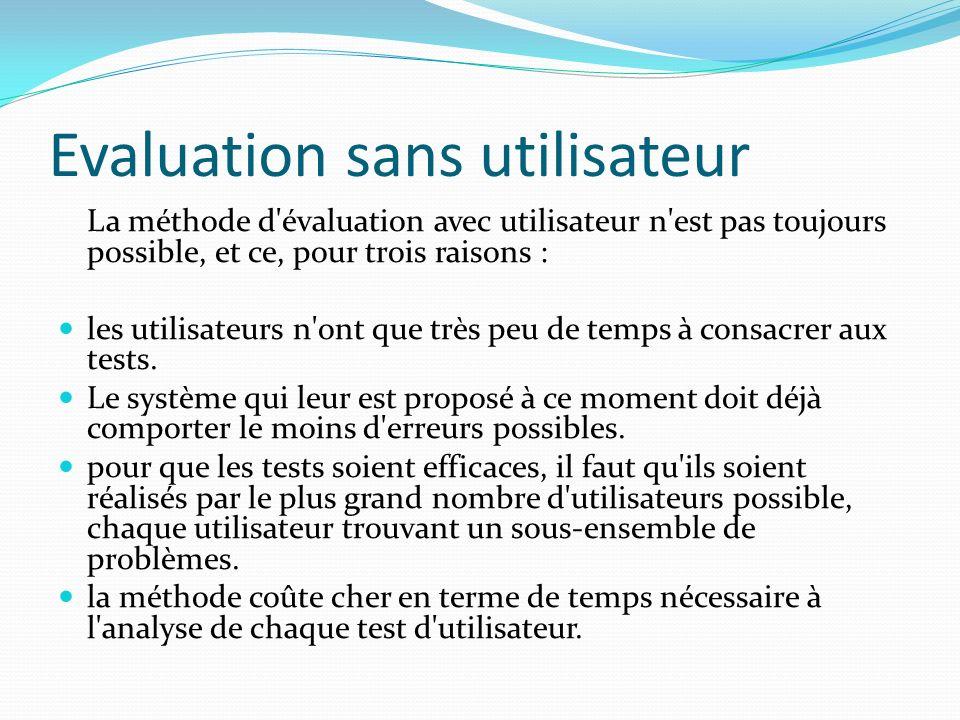 Evaluation sans utilisateur