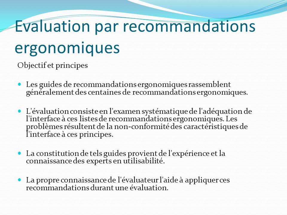 Evaluation par recommandations ergonomiques