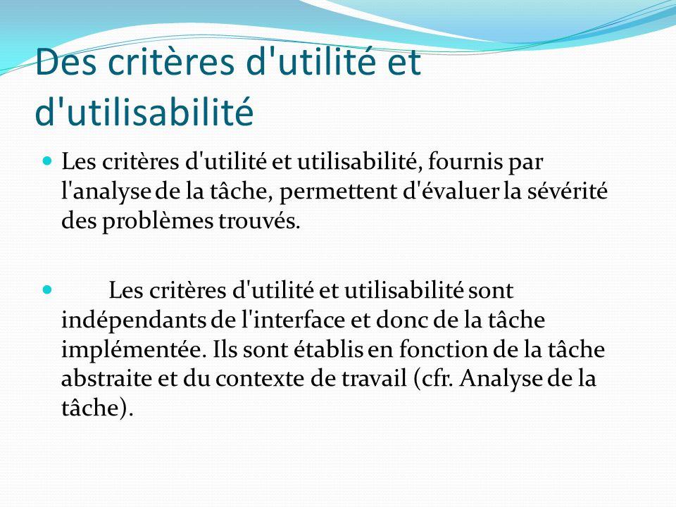Des critères d utilité et d utilisabilité