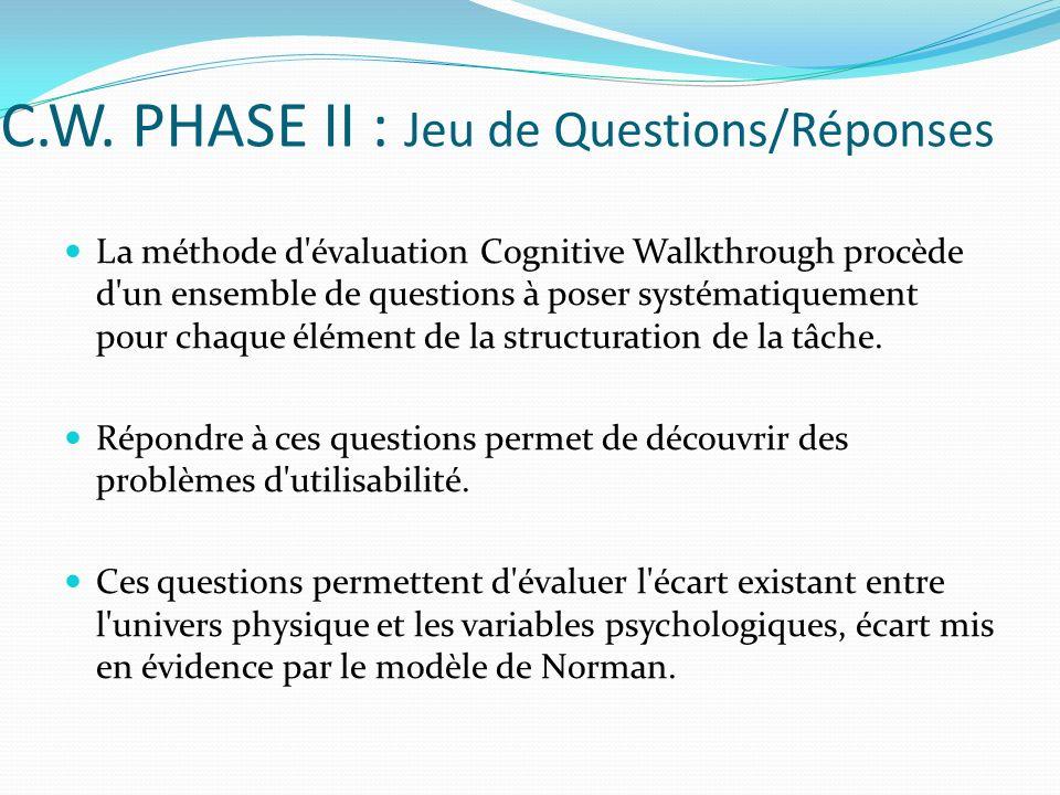 C.W. PHASE II : Jeu de Questions/Réponses