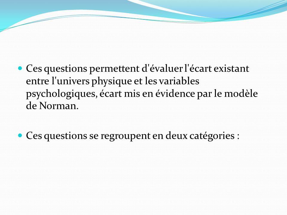 Ces questions permettent d évaluer l écart existant entre l univers physique et les variables psychologiques, écart mis en évidence par le modèle de Norman.