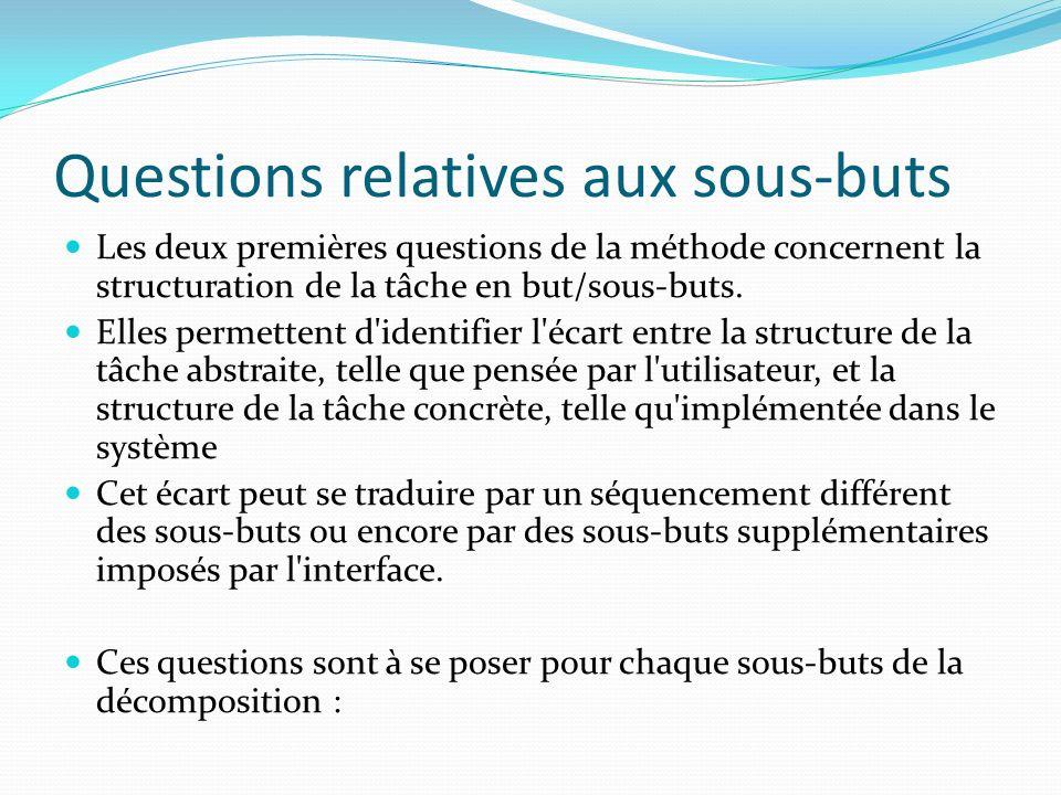 Questions relatives aux sous-buts
