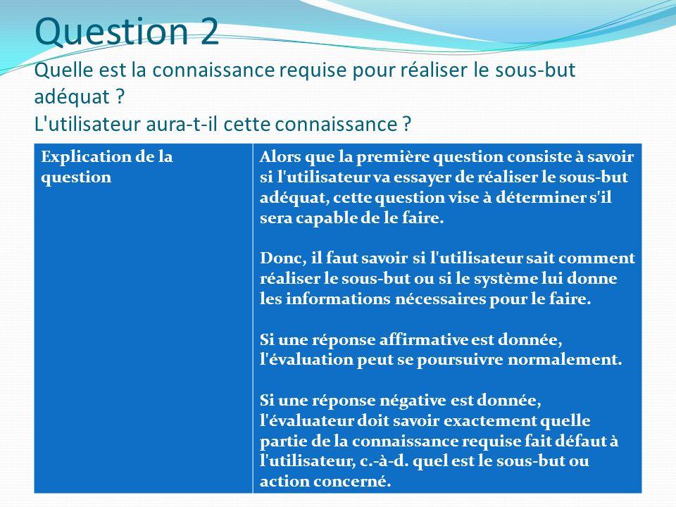 Question 2 Quelle est la connaissance requise pour réaliser le sous-but adéquat L utilisateur aura-t-il cette connaissance
