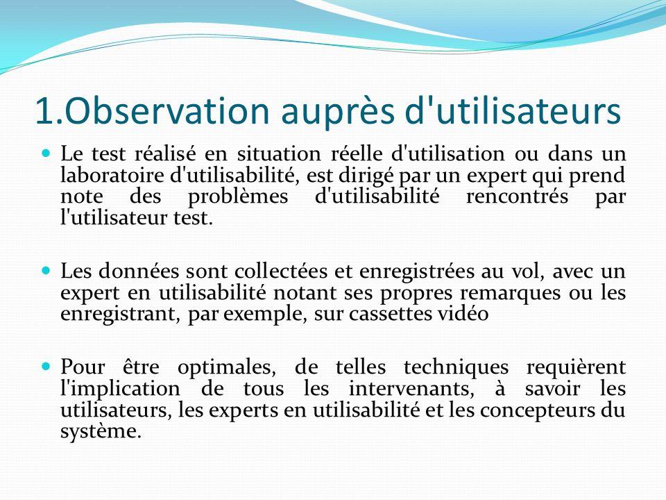 1.Observation auprès d utilisateurs