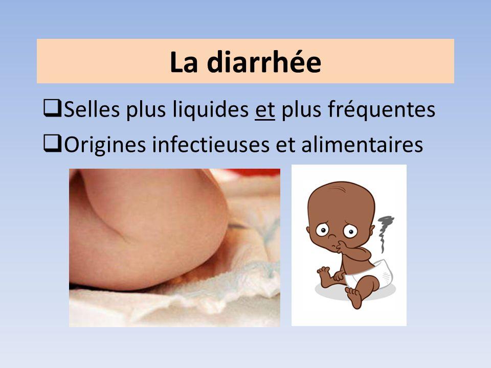 La diarrhée Selles plus liquides et plus fréquentes