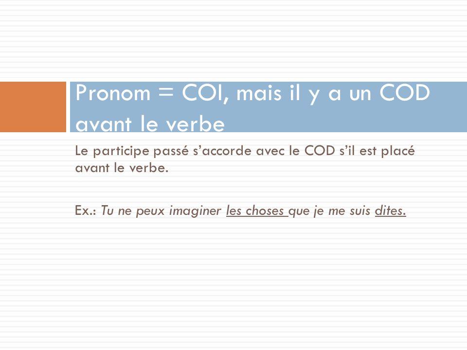 Pronom = COI, mais il y a un COD avant le verbe