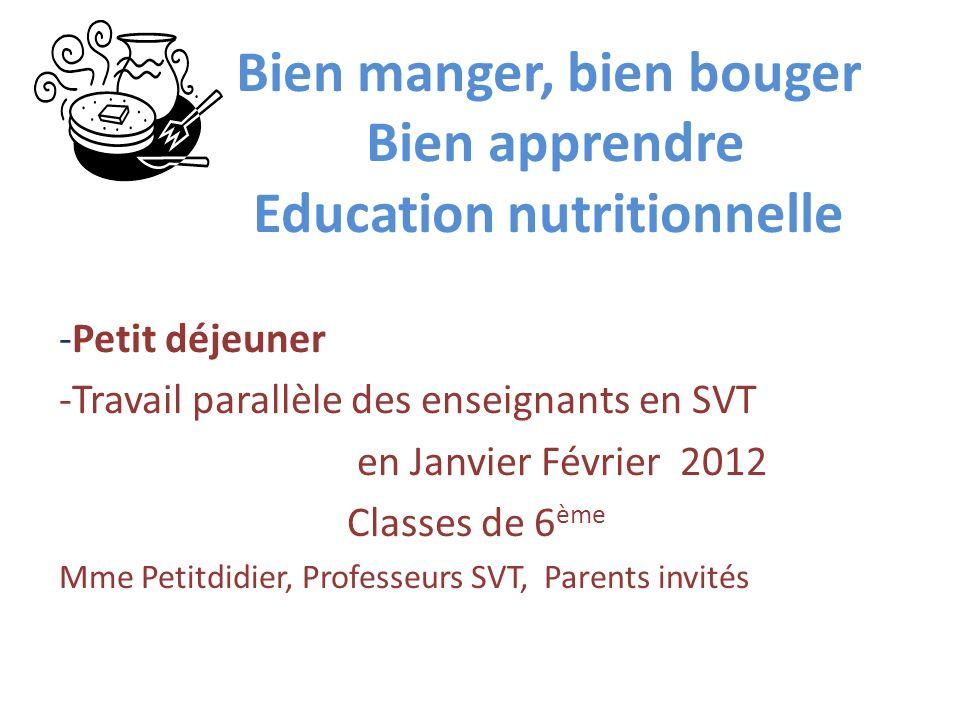 Bien manger, bien bouger Bien apprendre Education nutritionnelle