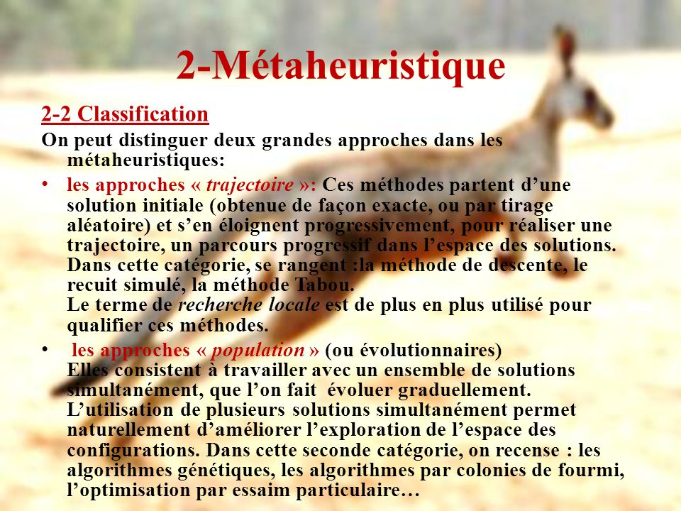 2-Métaheuristique 2-2 Classification
