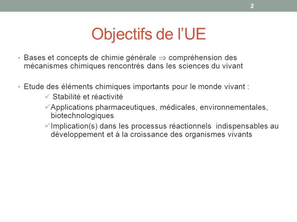 Objectifs de l'UE Bases et concepts de chimie générale  compréhension des mécanismes chimiques rencontrés dans les sciences du vivant.