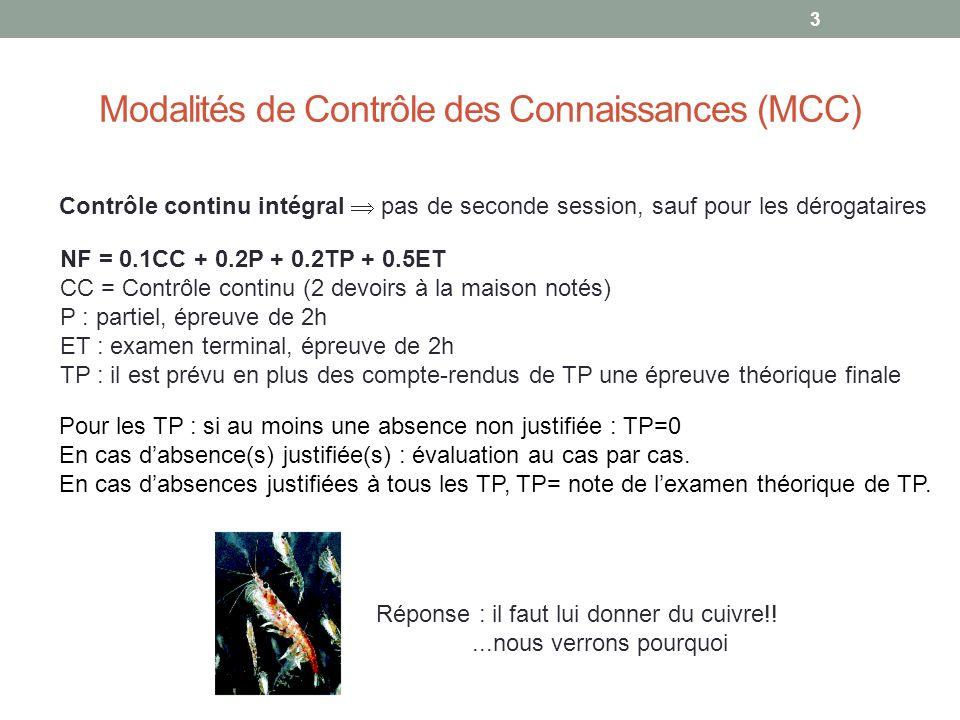 Modalités de Contrôle des Connaissances (MCC)
