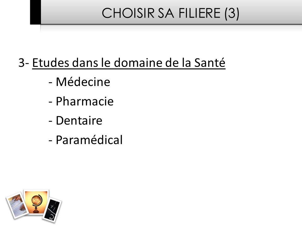 CHOISIR SA FILIERE (3) 3- Etudes dans le domaine de la Santé. - Médecine. - Pharmacie. - Dentaire.