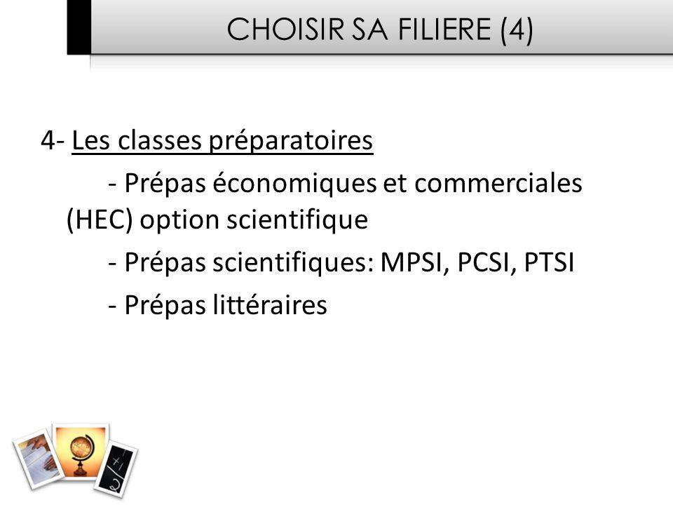 CHOISIR SA FILIERE (4) 4- Les classes préparatoires. - Prépas économiques et commerciales (HEC) option scientifique.