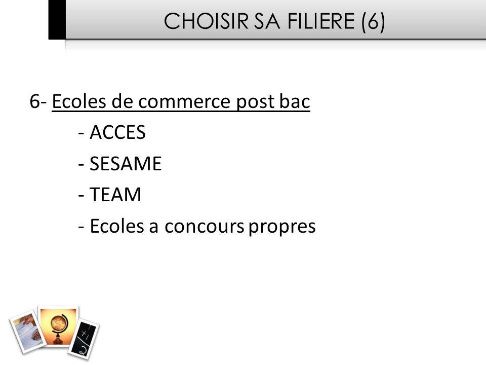 CHOISIR SA FILIERE (6) 6- Ecoles de commerce post bac.