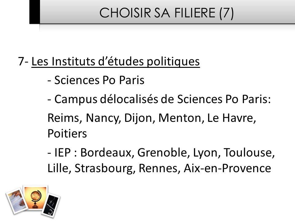 CHOISIR SA FILIERE (7) 7- Les Instituts d'études politiques. - Sciences Po Paris. - Campus délocalisés de Sciences Po Paris: