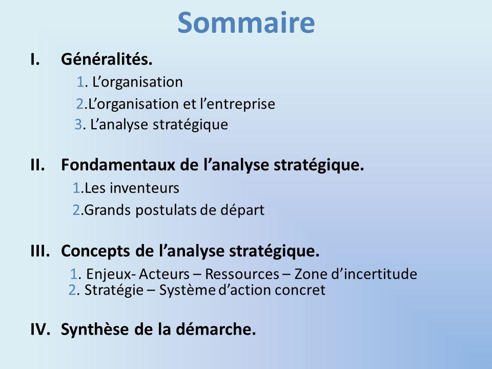 Sommaire Généralités. 1. L'organisation