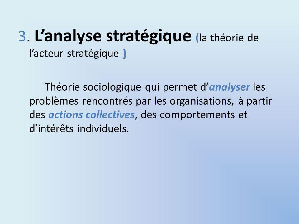 3. L'analyse stratégique (la théorie de l'acteur stratégique )