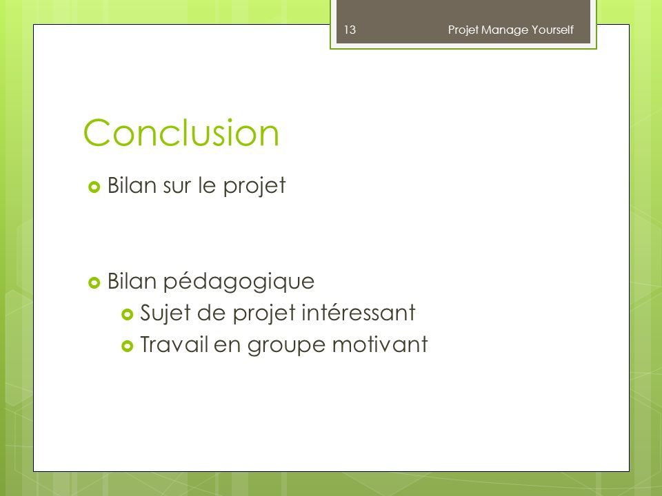 Projet Manage Yourself