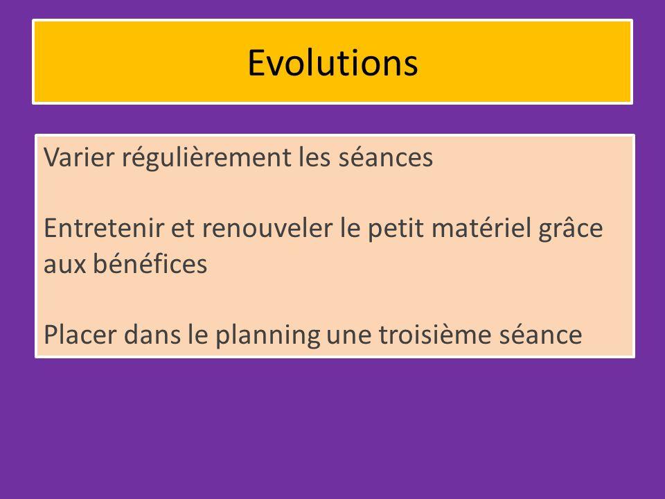 Evolutions Varier régulièrement les séances