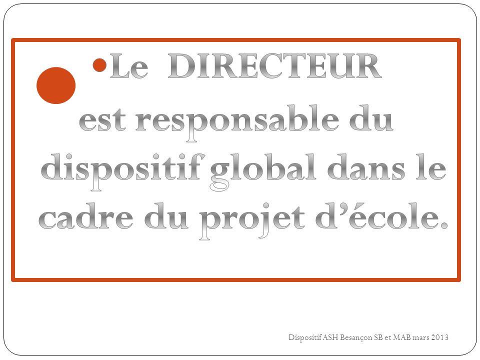 est responsable du dispositif global dans le cadre du projet d'école.