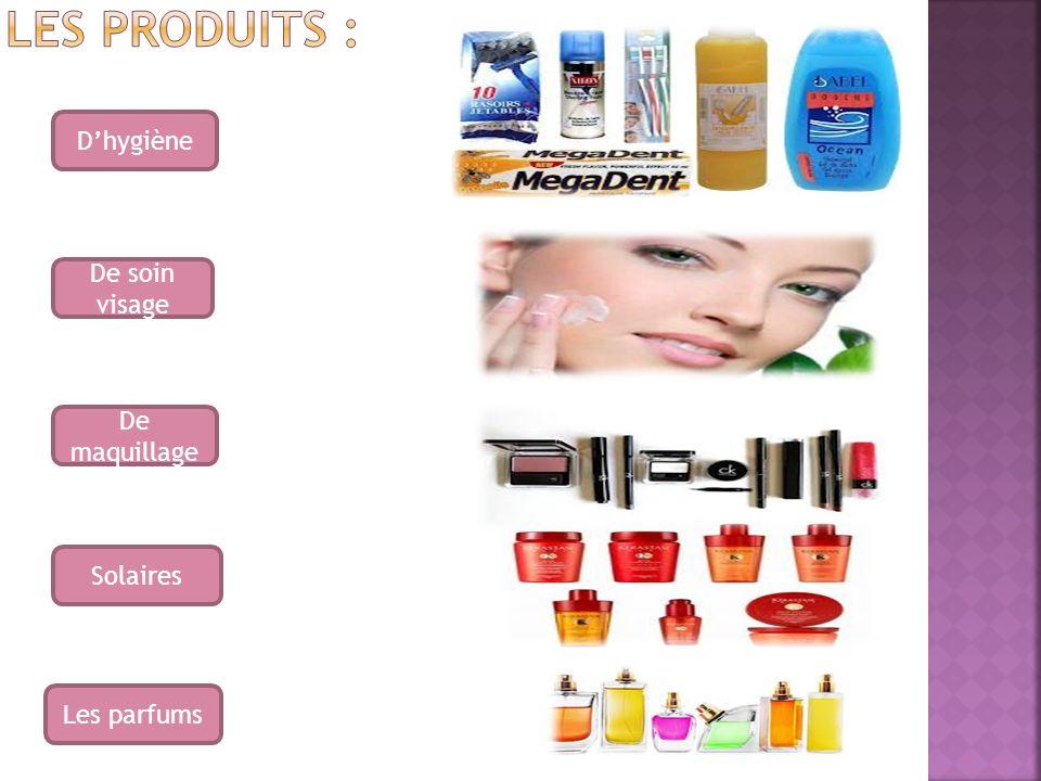 Les produits : D'hygiène De soin visage De maquillage Solaires