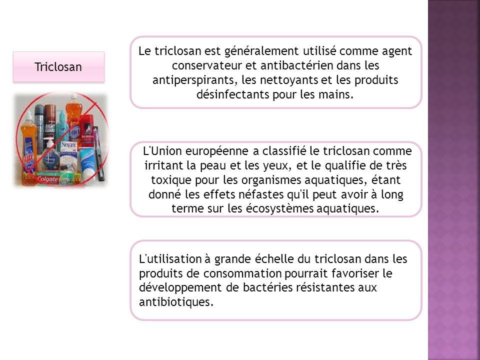 Le triclosan est généralement utilisé comme agent conservateur et antibactérien dans les antiperspirants, les nettoyants et les produits désinfectants pour les mains.
