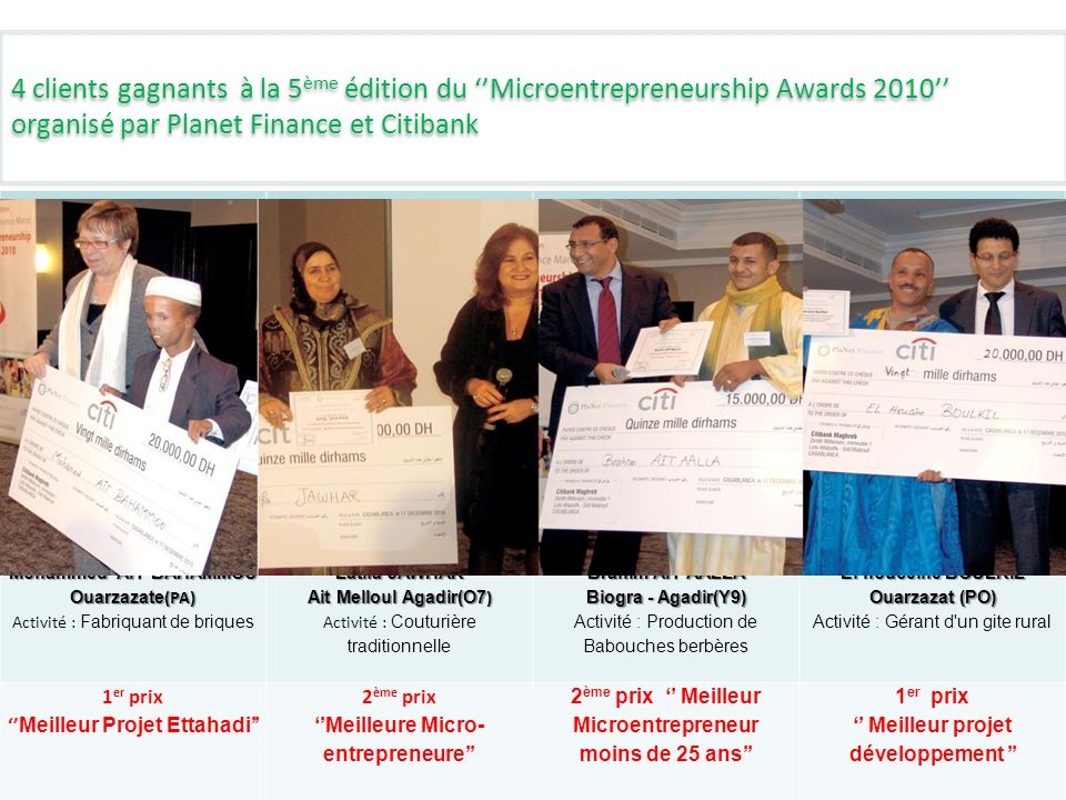 4 clients gagnants à la 5ème édition du ''Microentrepreneurship Awards 2010'' organisé par Planet Finance et Citibank