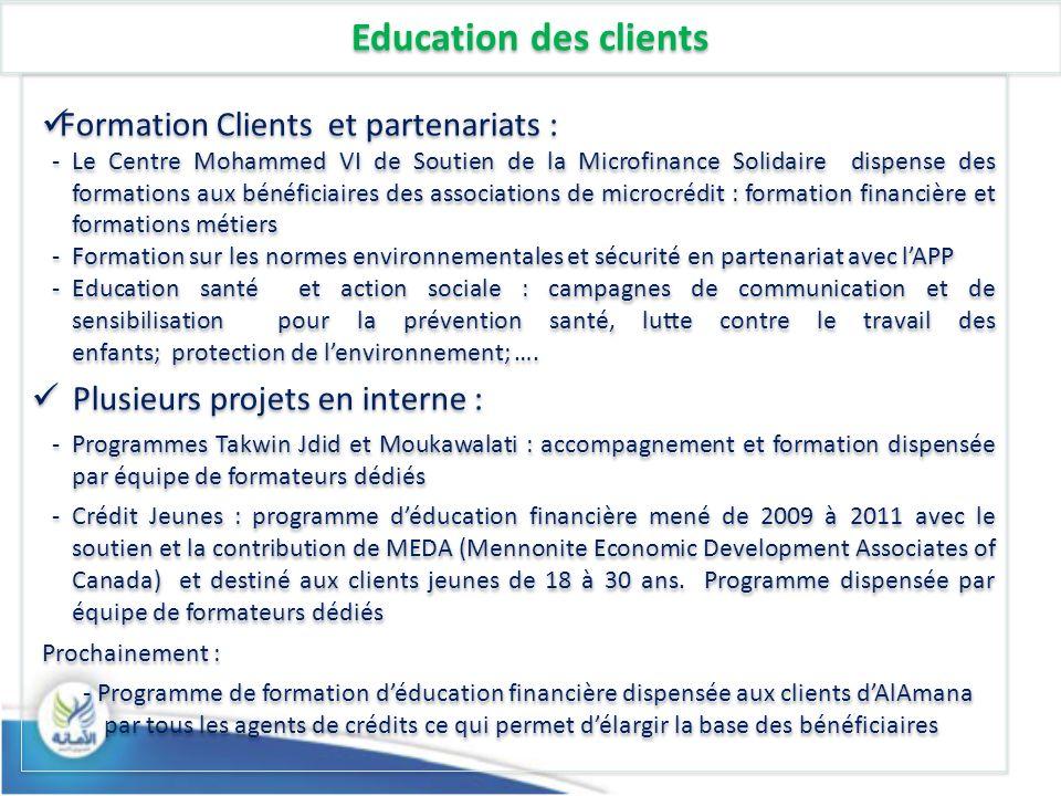 Education des clients Formation Clients et partenariats :