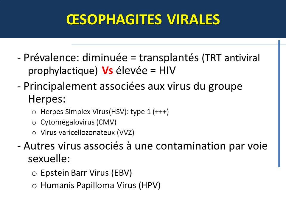 ŒSOPHAGITES VIRALES - Prévalence: diminuée = transplantés (TRT antiviral prophylactique) Vs élevée = HIV.