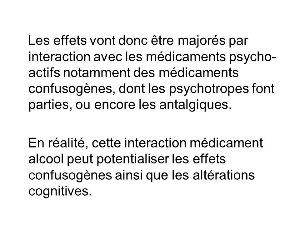 Les effets vont donc être majorés par interaction avec les médicaments psycho- actifs notamment des médicaments confusogènes, dont les psychotropes font parties, ou encore les antalgiques.