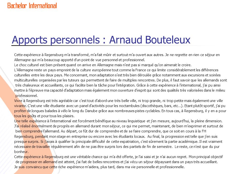 Apports personnels : Arnaud Bouteleux