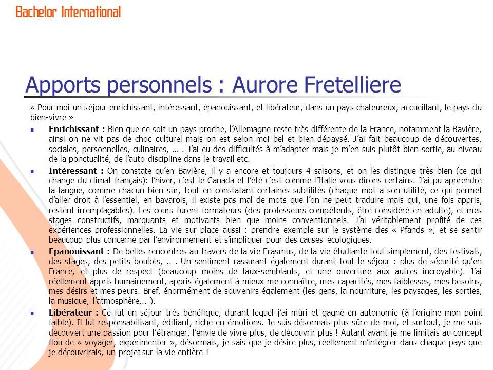 Apports personnels : Aurore Fretelliere