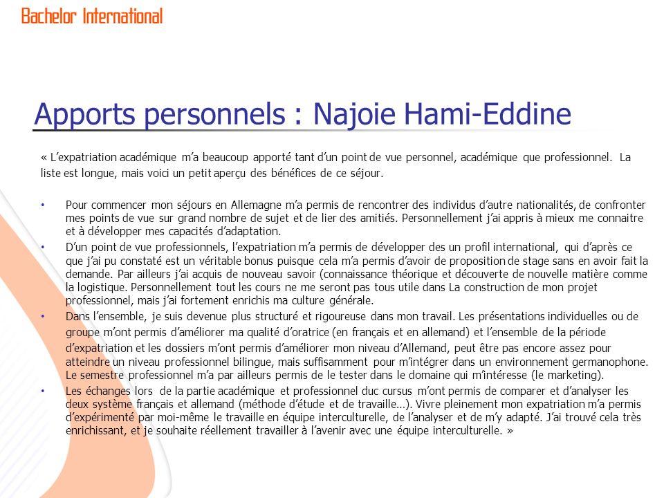 Apports personnels : Najoie Hami-Eddine