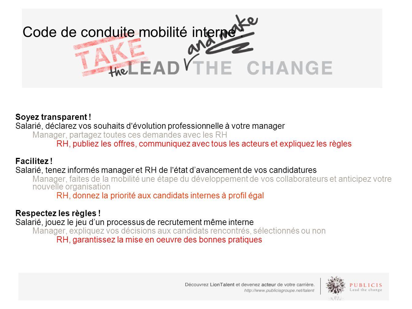Code de conduite mobilité interne :