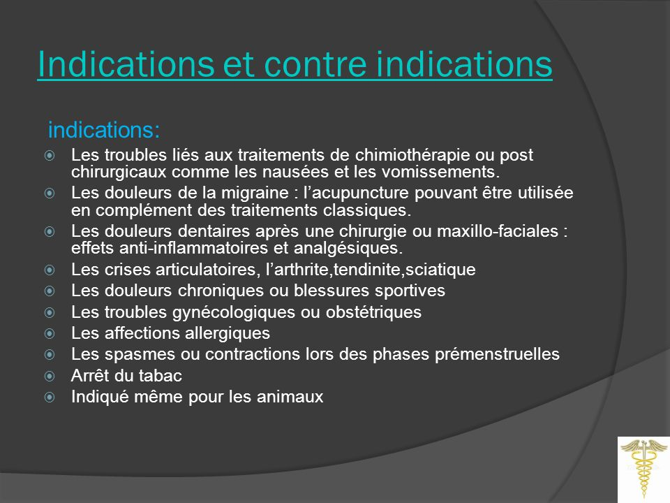 Indications et contre indications