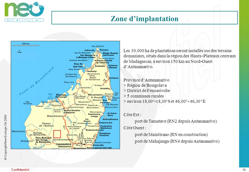 Zone d implantation de NEO à Madagascar
