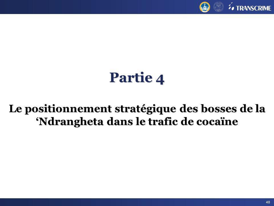 Partie 4 Le positionnement stratégique des bosses de la 'Ndrangheta dans le trafic de cocaïne