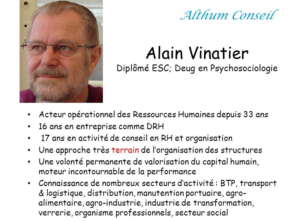 Alain Vinatier Diplômé ESC; Deug en Psychosociologie