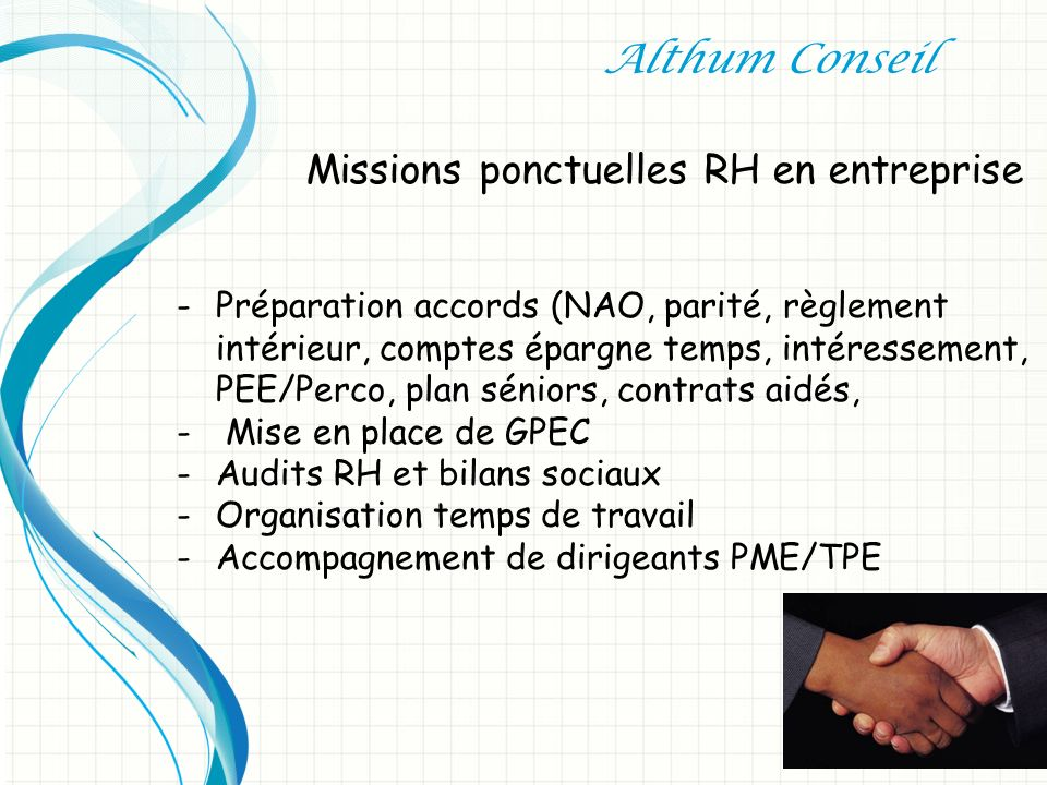 Missions ponctuelles RH en entreprise