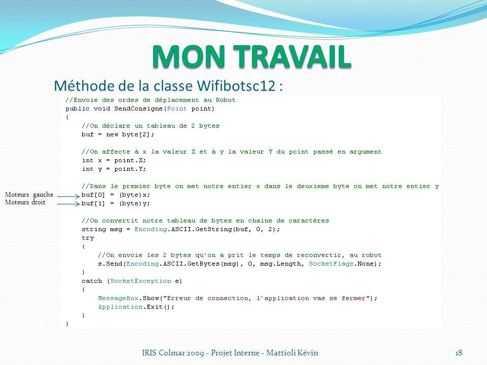 Méthode de la classe Wifibotsc12 :