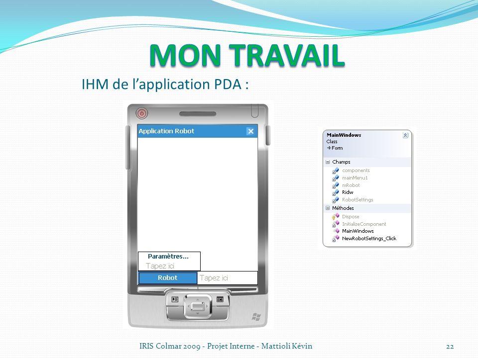 IHM de l'application PDA :