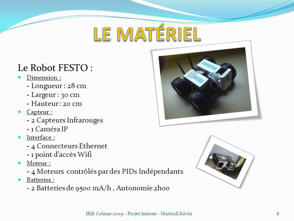 Le matériel Le Robot FESTO : - Largeur : 30 cm - Hauteur : 20 cm