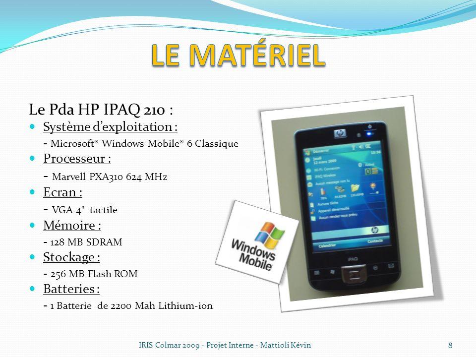 Le matériel Le Pda HP IPAQ 210 : Système d'exploitation :